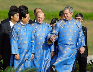 bush-in-japanese-gown